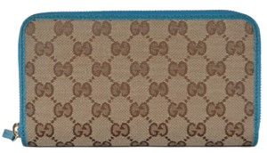Gucci New Gucci Beige Colbalt GG Guccissima Canvas Zip Around Wallet