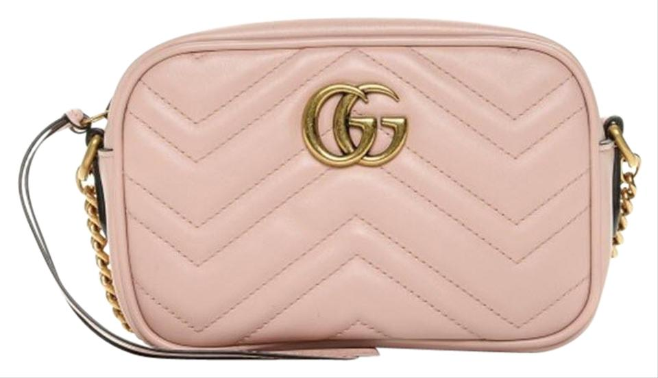 dbd43b49278 Gucci Camera Marmont Mini Quilted Gg Light Pink Leather Cross Body Bag 25%  off retail