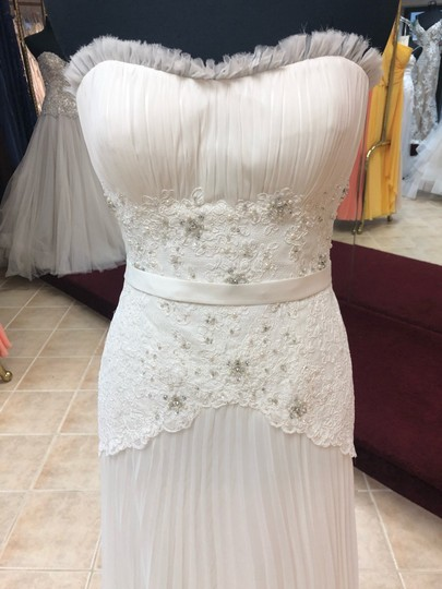 Anjolique Ivory Chiffon and Lace Light Airy Gown with Beaded Top Destination Wedding Dress Size 6 (S) Image 2