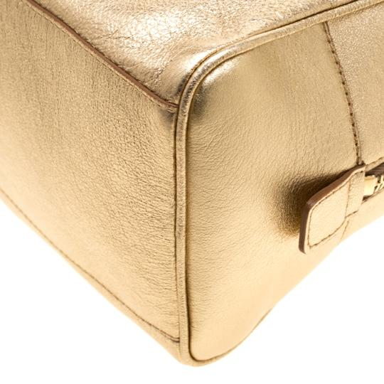 Saint Laurent Leather Mini Satchel in Gold Image 8