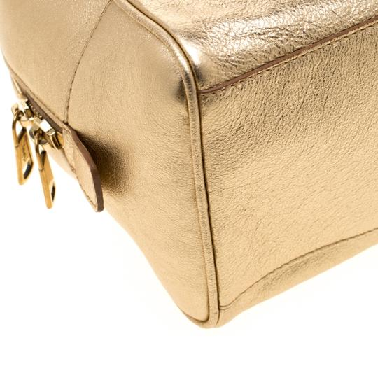 Saint Laurent Leather Mini Satchel in Gold Image 9