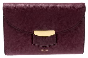 Céline Leather Burgundy Clutch
