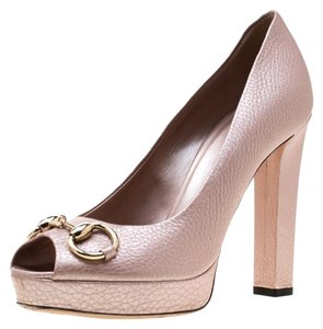 6a950d11f Gucci Leather Peep Toe Platform Pink,Metallic Pumps