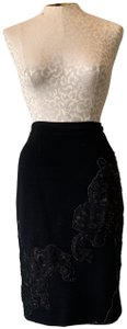 Andrew Gn Pencil Work Flower Skirt Black