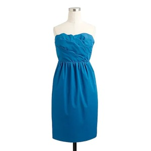 J.Crew Navy Cotton Taffeta Collection Samantha 43003 - Never Been Worn Traditional Bridesmaid/Mob Dress Size 14 (L)