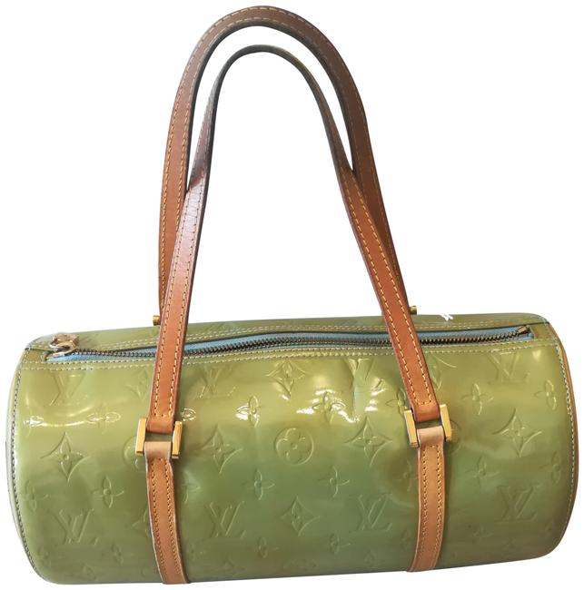 Item - Papillon Patent Cylindrical Green Monogram Vernis Leather Baguette