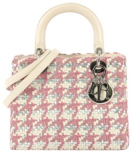 Dior Lady Woven Tweed Leather Satchel in white and silver