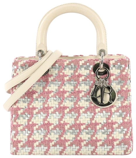 Preload https://img-static.tradesy.com/item/25715472/dior-lady-handbag-woven-with-tweed-medium-white-and-silver-leather-satchel-0-1-540-540.jpg