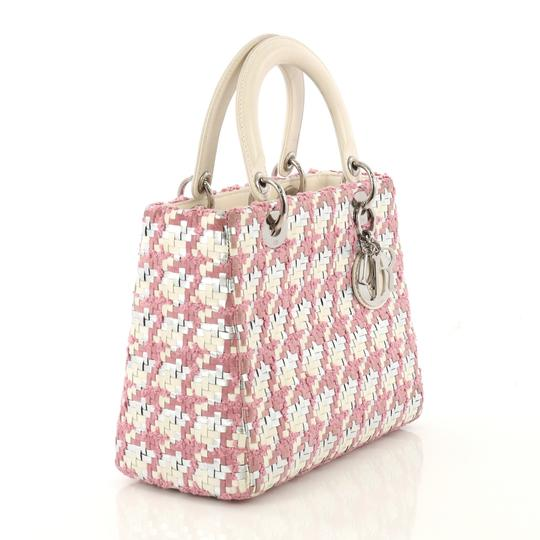 Dior Lady Woven Tweed Leather Satchel in white and silver Image 1