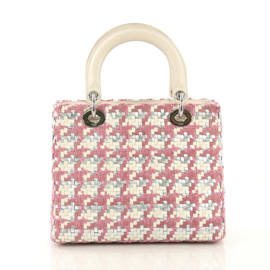 Dior Lady Woven Tweed Leather Satchel in white and silver Image 2