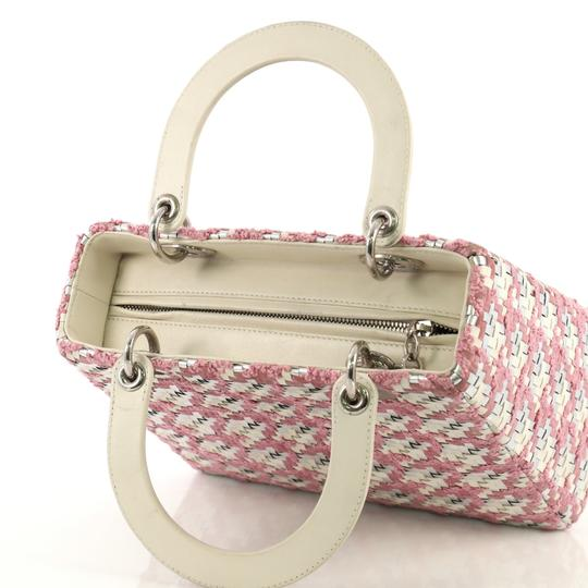 Dior Lady Woven Tweed Leather Satchel in white and silver Image 6