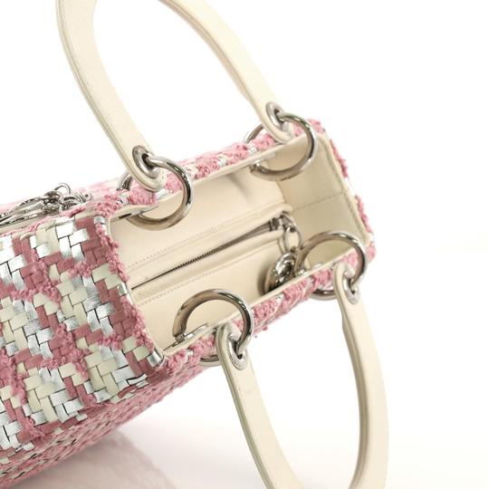Dior Lady Woven Tweed Leather Satchel in white and silver Image 7