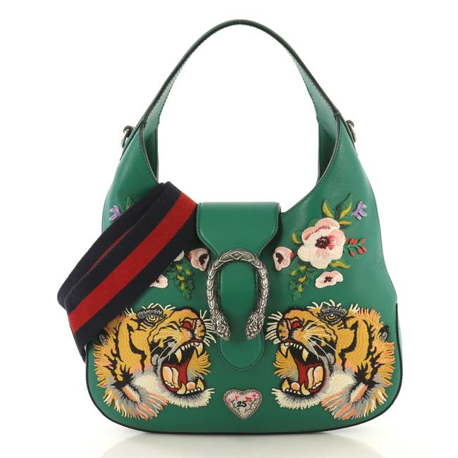 Item - Dionysus Embroidered Small Green Leather Hobo Bag