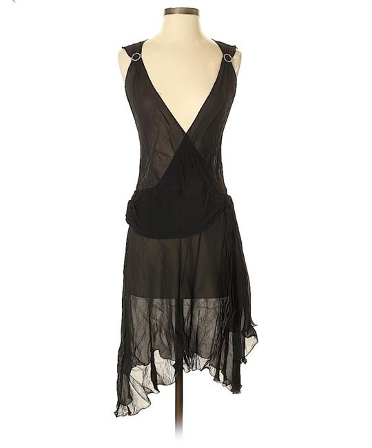 Item - Black Silk Chiffon Hi-low Out/Cocktail Mid-length Night Out Dress Size 6 (S)