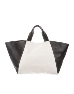 Céline Canvas Leather Tote in Black and White