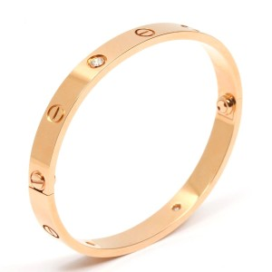b6b661479 Cartier Cartier 18k Rose Gold Love with 4 Diamond Bracelet