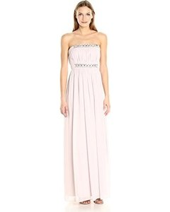 Donna Morgan Mist Chiffon Kyle Strapless Gown with Beaded Detail Formal Bridesmaid/Mob Dress Size 12 (L)