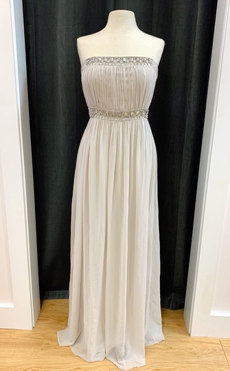 Donna Morgan Mist Chiffon Kyle Strapless Gown with Beaded Detail Formal Bridesmaid/Mob Dress Size 12 (L) Image 1