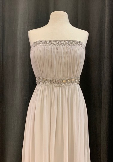 Donna Morgan Mist Chiffon Kyle Strapless Gown with Beaded Detail Formal Bridesmaid/Mob Dress Size 12 (L) Image 2
