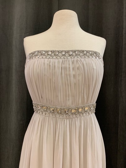 Donna Morgan Mist Chiffon Kyle Strapless Gown with Beaded Detail Formal Bridesmaid/Mob Dress Size 12 (L) Image 3