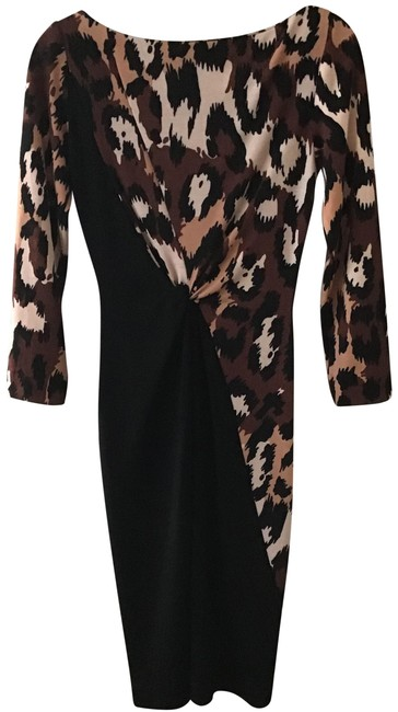 Item - Black Brown and Cream Boat Neckline Mid-length Cocktail Dress Size 2 (XS)