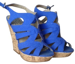 Free Press Electric Blue Fabric Wedges