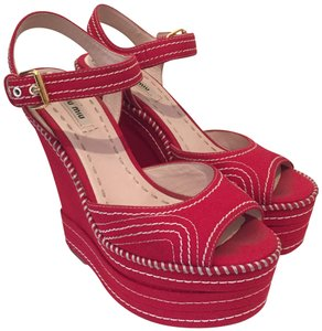 Miu Miu Wedges Red Platforms