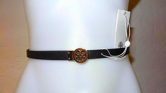 Tory Burch Black/Gold with Tag Reversible Patent Leather Logo In Belt Image 1