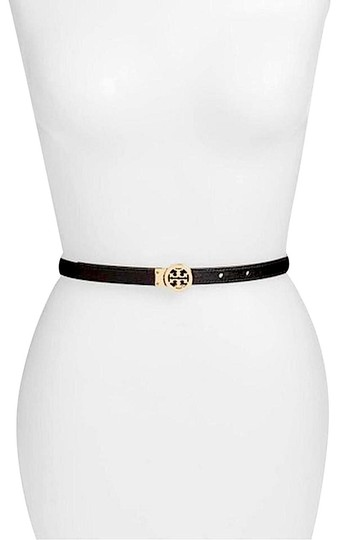 Tory Burch Black/Gold with Tag Reversible Patent Leather Logo In Belt Image 3