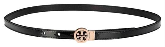 Tory Burch Black/Gold with Tag Reversible Patent Leather Logo In Belt Image 6