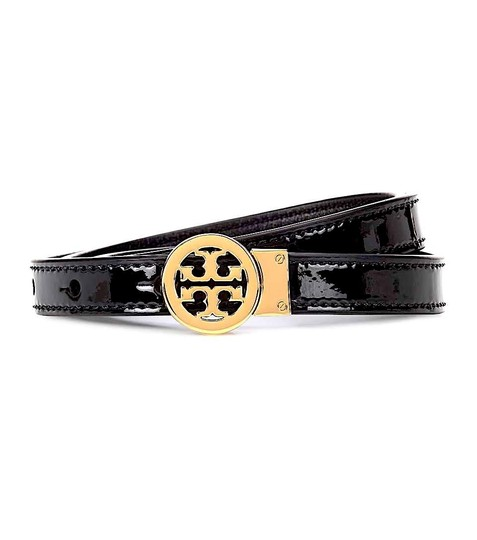 Tory Burch Black/Gold with Tag Reversible Patent Leather Logo In Belt Image 7