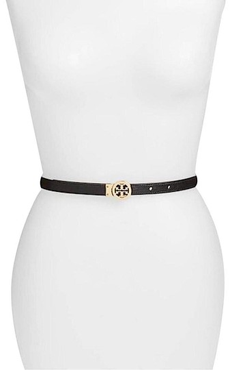 Tory Burch Black/Gold with Tag Reversible Patent Leather Logo In Belt Image 8
