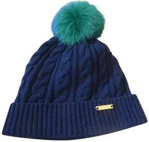 Burberry Burberry Cable-Knit Wool/Cashmere Pom Fox Fur Beanie Hat