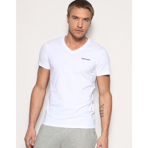 Diesel White V-neck Michael Modal Stretch Tee Shirt