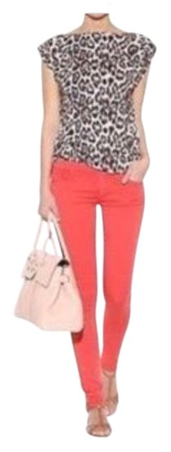 Item - Coral Red The Looker Back In Flash Skinny Jeans Size 4 (S, 27)