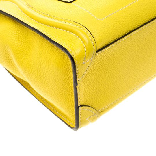 Céline Leather Tote in Yellow Image 8