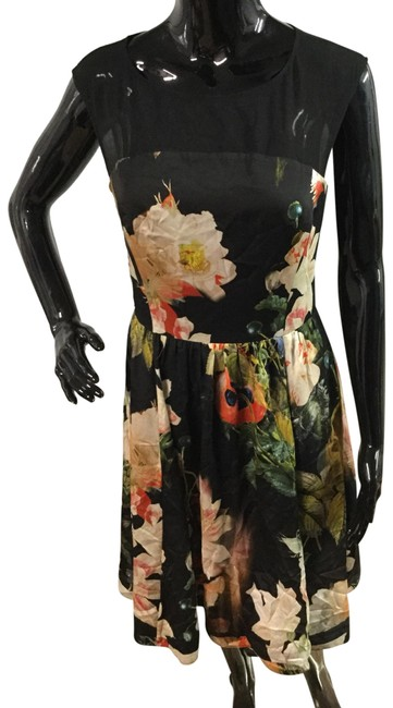 Item - Black/ Pastel Colored Roses. Mid-length Formal Dress Size 2 (XS)