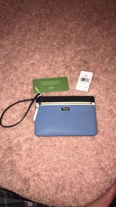 Kate Spade Wristlet in blue black and white
