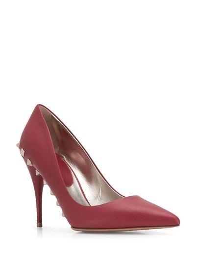 Valentino Jaw Stud Pointed Toe Red Rockstud Rosso (Red) Pumps Image 1