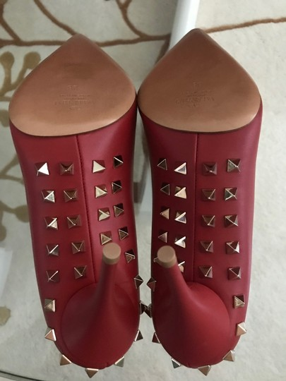 Valentino Jaw Stud Pointed Toe Red Rockstud Rosso (Red) Pumps Image 10