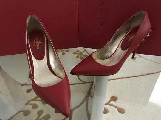 Valentino Jaw Stud Pointed Toe Red Rockstud Rosso (Red) Pumps Image 5
