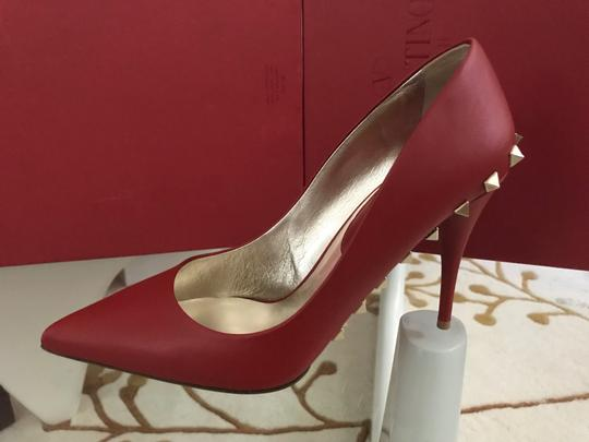 Valentino Jaw Stud Pointed Toe Red Rockstud Rosso (Red) Pumps Image 6