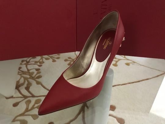 Valentino Jaw Stud Pointed Toe Red Rockstud Rosso (Red) Pumps Image 8