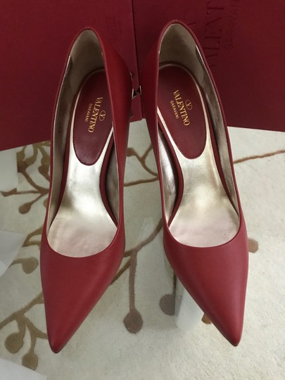 Valentino Jaw Stud Pointed Toe Red Rockstud Rosso (Red) Pumps Image 9