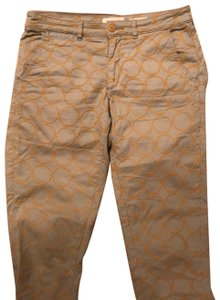 Anthropologie Relaxed Pants Putty color with gold embroidered circles