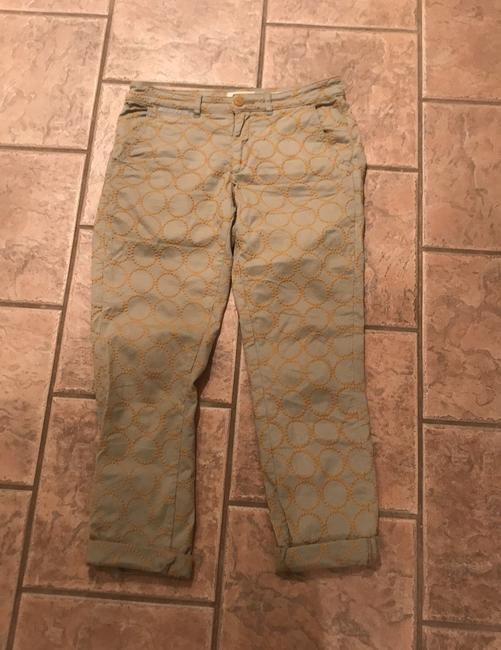 Anthropologie Relaxed Pants Putty color with gold embroidered circles Image 1
