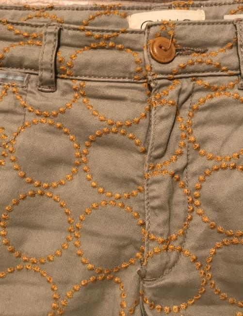 Anthropologie Relaxed Pants Putty color with gold embroidered circles Image 2
