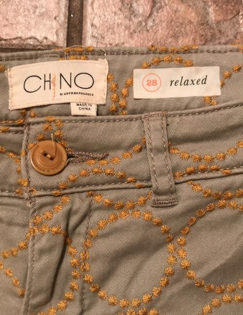 Anthropologie Relaxed Pants Putty color with gold embroidered circles Image 3
