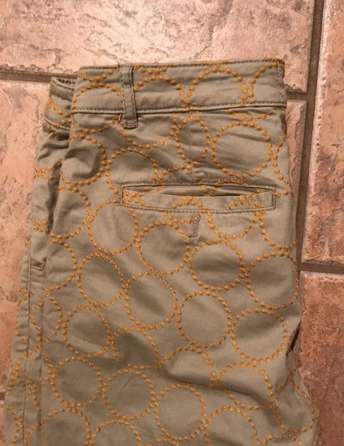 Anthropologie Relaxed Pants Putty color with gold embroidered circles Image 4