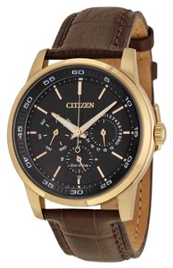 Citizen Citizen Men's Dress Eco-Drive Black Dial Brown Leather BU2013-08E